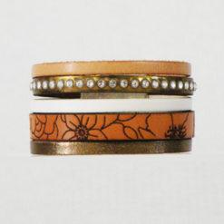 Bracelet femme cuir naturel gravé fleurs artisanal blanc et bronze serti de strass