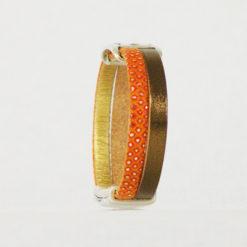 Bracelet de cuir orange et bronze belle marianne 07