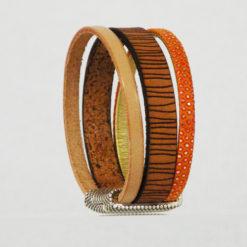 Bracelet femme cuir orange nude original