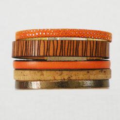 Manchette orange femme artisanat français cuir et liège