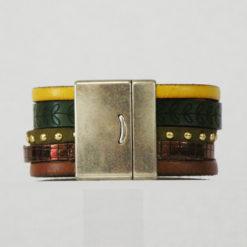 Manchette aimante en cuir jaune et marron Belle Marianne 02