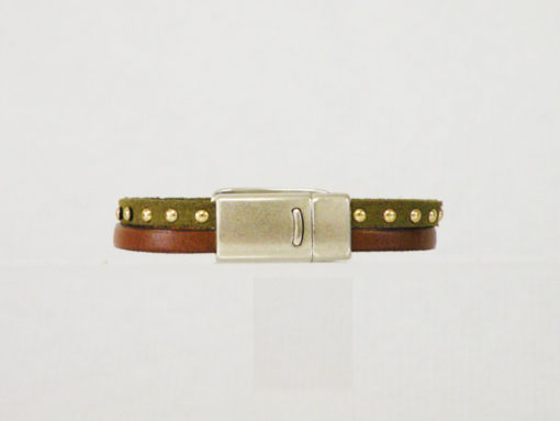 Bracelet femme original cuir kaki made in France, avec passant argent motif plume