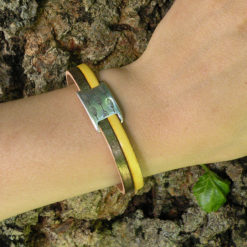 Bracelet femme original cuir jaune made in France