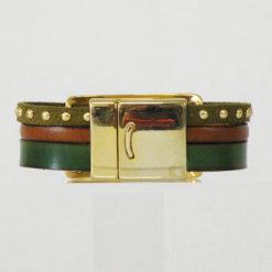 Bracelet femme cuir vert et marron avec fermoir et passant dorés , artisanal français