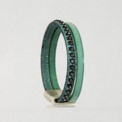 bracelet femme en cuir vert d' eau et strass ethnique 08
