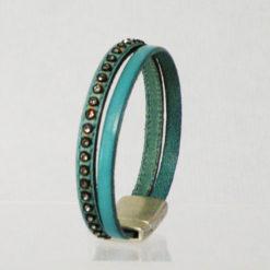 bracelet femme en cuir bleu lagon et strass ethnique 07