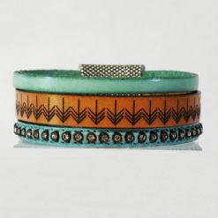 Bracelet femme cuir bleu lagon ethnique 06