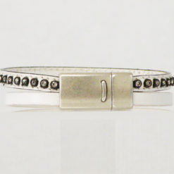 bracelet femme en cuir blanc et strass made in France