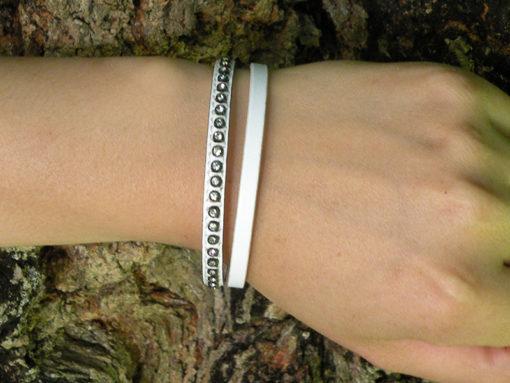 bracelet femme en cuir blanc et strass made in France