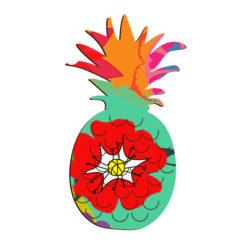 Magnet ananas imprimé fleur anti-uv gravé de fabrication artisanale Française original et coloré