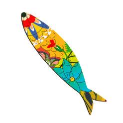 Magnet sardine imprimé fleur anti-uv gravé, original , petite déco fantaisie sur le frigo made in France
