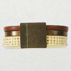 Bracelet femme en cuir chocolat bronze et crème made in France Stracciatella 02
