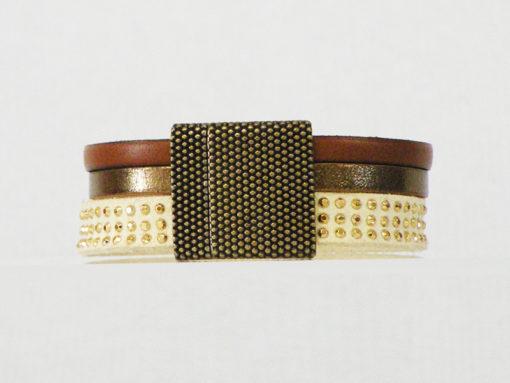 Bracelet femme en cuir chocolat bronze et crème moderne chic made in France