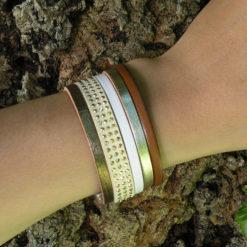 Bracelet femme en cuir aux couleurs chaleureuses et gourmandes de fabrication artisanale
