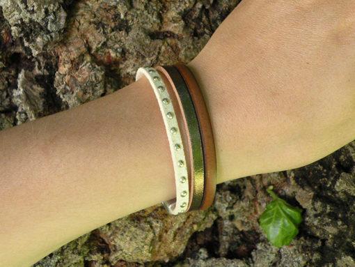 Bracelet femme cuir chocolat et crème moderne chic et élégant de fabrication française