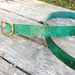 ceinture chardon en cuir vert malachite