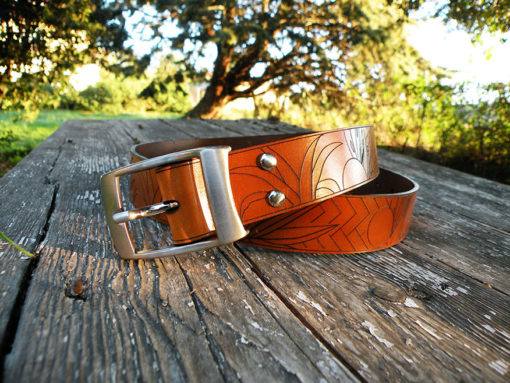 ceinture homme en cuir fauve de fabrication française gravée motif miami