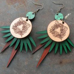 Boucles d' oreilles en cuir Quitèri n° 2 , influence de la faune et la flore de la jungle