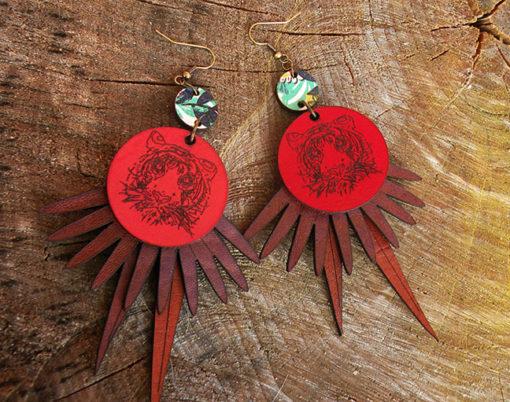 Boucles en cuir Quitèri n° 5 made in France de fabrication artisanale avec des inspirations exotiques