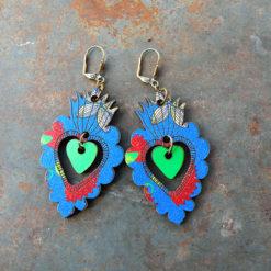Boucles d' oreilles Adèla d' inspiration mexicaine ces boucles représentent des ex-voto. Elles sont fabriquées en France et dans une démarche du zéro déchet.