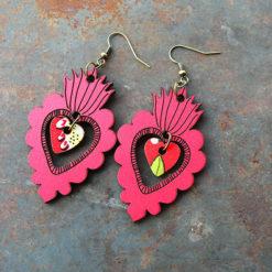 Boucles Adèla rouge légère et colorée de fabrication française et dans la tendance du zéro déchet.