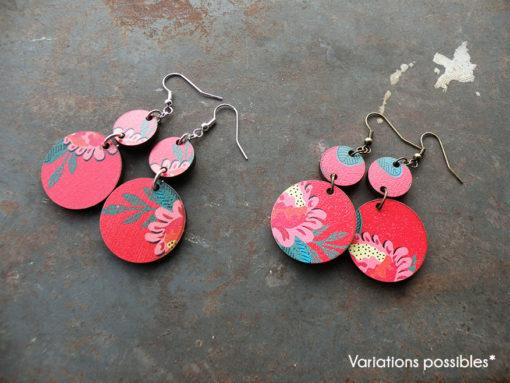 Boucles d' oreilles Fani motif gypsy, légères et colorées de fabrication française et artisanale.