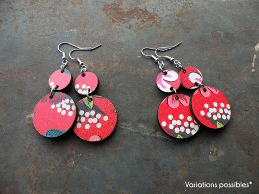 Boucles d' oreilles gypsy colorées et légères de fabrication artisanale made in Gard , tirant vers le zéro déchet.
