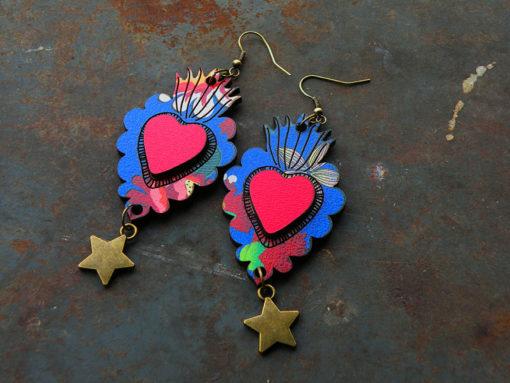 Boucles d' oreilles Manoletta n°3 , motif gypsy est de fabrication artisanale made in Gard .