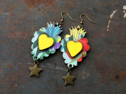 Boucles d' oreilles Manoletta n°4 , d' inspiration mexicaine, leur forme reprend celle des ex-voto.