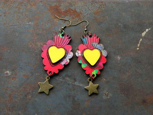 Boucles d' oreilles Manoletta n°1 , motif gypsy est de fabrication artisanale made in Gard .