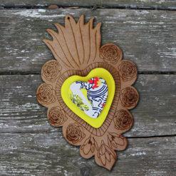 ex-voto Flora n°4 brut coeur en relief jaune et imprimé Simon made in France.