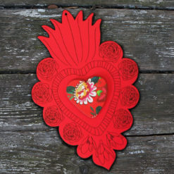 ex-voto Flora n°3 rouge coeur en relief imprimé Gypsy made in France.