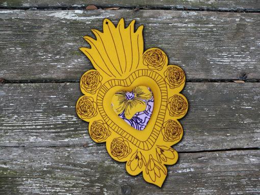 ex-voto Flora n°2 jaune coeur en relief imprimé Simon made in France.