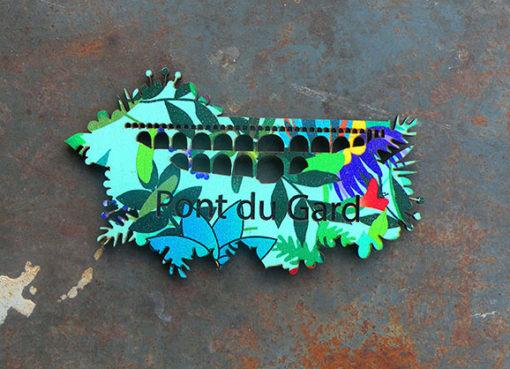 Magnet Pont du Gard motif Alizée, fabriquée artisanalement avec amour par des créatrices du Gard.