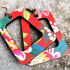 Boucles d' oreilles Vice versa gypsy fabriquées en France imprimées avec un motif original aux couleurs du sud et plein de pep' s