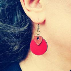 boucles d' oreilles Valentine rouge